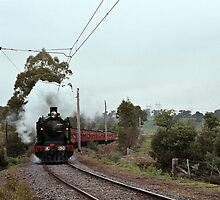 1970s K 190 under steam near Eltham with excursion train by Fred Mitchell