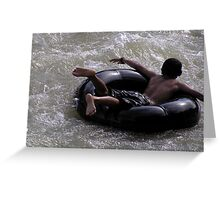 White Water Rafting the Local Way, Boy Inner Rubber Tube Rafting - Samatra Greeting Card