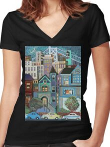 San Francisco Nights Women's Fitted V-Neck T-Shirt