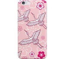 Japanese pink ciconia bird pattern iPhone Case/Skin