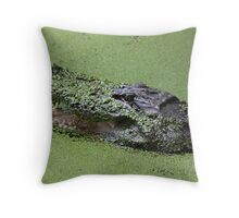 Gator in the Swamp Throw Pillow