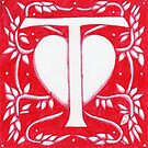 Red Heart Letter T by Donna Huntriss