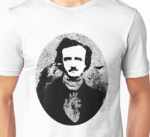 Poe with Ravens and Heart, rounded style Unisex T-Shirt