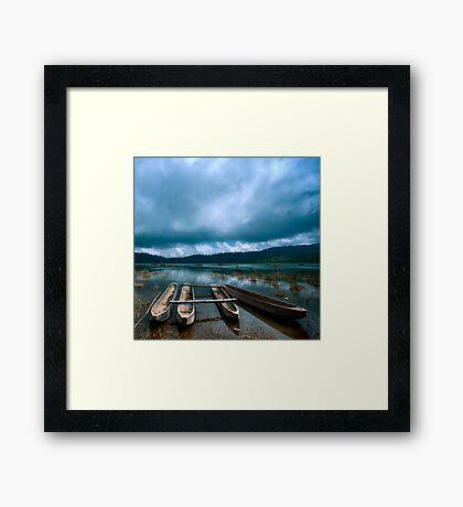 Storm is coming - Tamblingan lake, Bali Framed Print