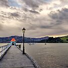 Akaroa harbour at sunset by Richard Majlinder