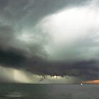 Storm clouds and rain, Black Rock by Roz McQuillan