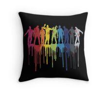 Rainbow Zombie Shuffle: Version Two Throw Pillow