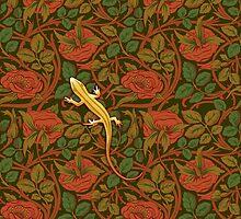 Yellow lizard on flowers by Ivy Izzard