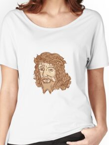 Jesus Christ Face Crown Thorns Etching Women's Relaxed Fit T-Shirt