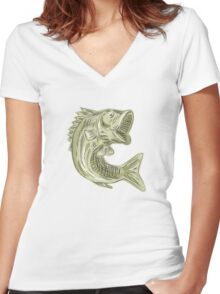 Largemouth Bass Fish Etching Women's Fitted V-Neck T-Shirt
