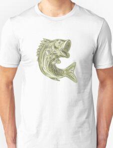 Largemouth Bass Fish Etching T-Shirt
