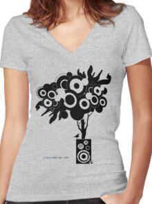 Funky Speaker Tree Women's Fitted V-Neck T-Shirt