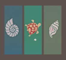 Turtle and Sea Shell T Shirt by simpsonvisuals