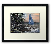 Yacht, boat and curonian lagoon scenery Framed Print