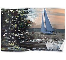 Yacht, boat and curonian lagoon scenery Poster