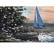 Yacht, boat and curonian lagoon scenery Photographic Print