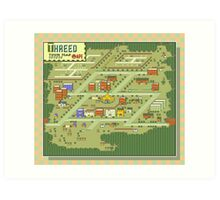 Threed Town Map - Earthbound/Mother 2 Art Print