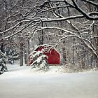 Red Barn in the Snow by Susan S. Kline