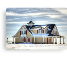 Beach house in the Snow-in close view Canvas Print