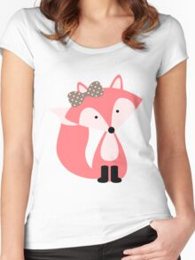 Girly Pink Fox Women's Fitted Scoop T-Shirt