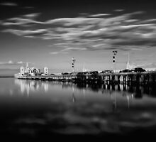 Sunset On The Pier In Mono by peterperfect