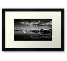 Sunset On The Pier In Mono Framed Print