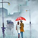 Rainy day red umbrella watercolour painting by gordonbruce