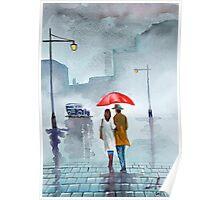 Rainy day red umbrella watercolour painting Poster