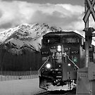 Snowy Engine Through the Rockies by Lisa Knechtel