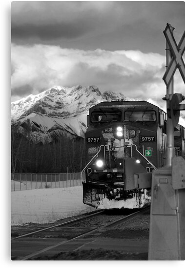 Snowy Engine Through the Rockies by Lisa Knechtel
