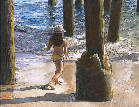 Little Jessica and Her Hat Malibu Pier by Randy Sprout