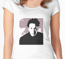 Keanu Reeves in the Matrix, Purple Color Women's Fitted Scoop T-Shirt