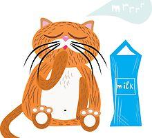 Cartoon cat with milk by Anna Bulgak