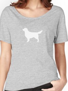 White Golden Retriever Silhouette Women's Relaxed Fit T-Shirt