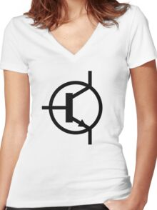 NPN Transistor Women's Fitted V-Neck T-Shirt