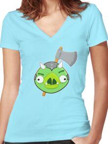 Angry Birds Vs. Gamorreans Women's Fitted V-Neck T-Shirt