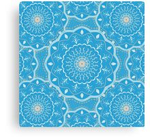 Blue White Orange  Mandala Design Canvas Print