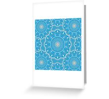 Blue White Orange  Mandala Design Greeting Card