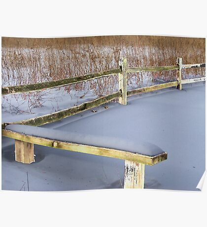 Rustic Bench and Fence Poster