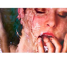 Warm Embrace - erotic nude pretty girl love calm water light nature pink cool fun Photographic Print
