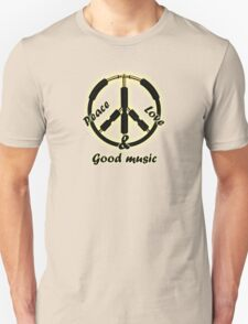Peace,love,music guitar cables T-Shirt