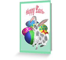 Happy Easter, Bunny and Easter Eggs Greeting Card