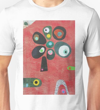Tree On Red Waves Unisex T-Shirt