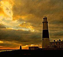 Portland Lighthouse & Obelisk at Dusk, Dorset, UK by buttonpresser