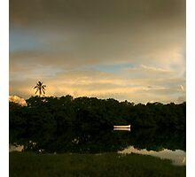 White Boat, Black River Photographic Print