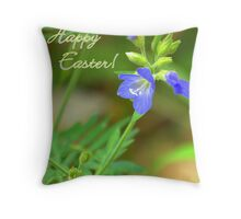 Blue Wildflower -  Happy Easter! Throw Pillow