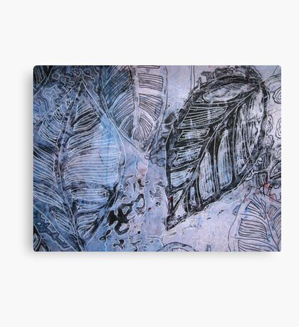 Leaves 1 Mixed Media - Ink on Acrylic Monotype Print Canvas Print