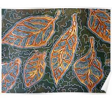 Leaves 02 Mixed Media - Ink on Acrylic Monoprint Poster