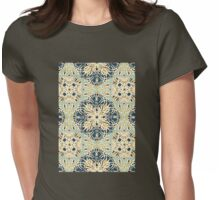 Protea Pattern in Deep Teal, Cream, Sage Green & Yellow Ochre Womens Fitted T-Shirt