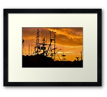 Masts in the Bay Sunset Framed Print